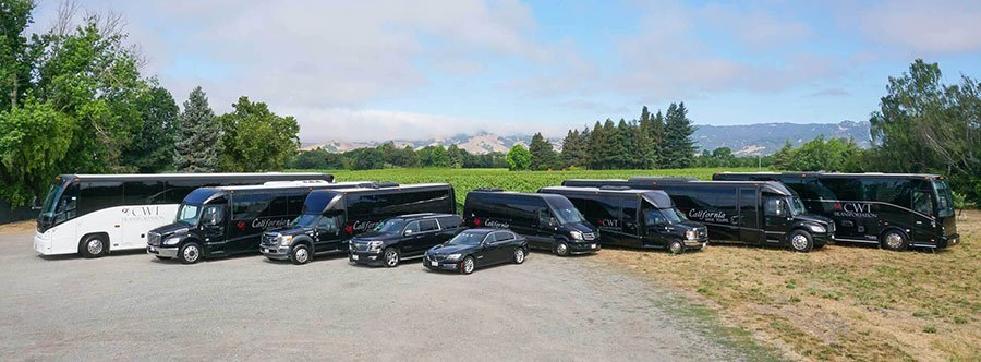 Our line of busses, limos, and vehicles at California Wine Tours